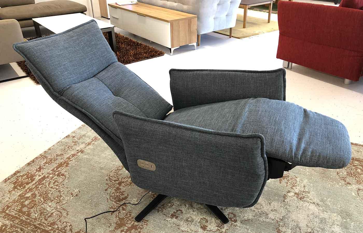 Relax-Sessel 2-motorig Stoff blau