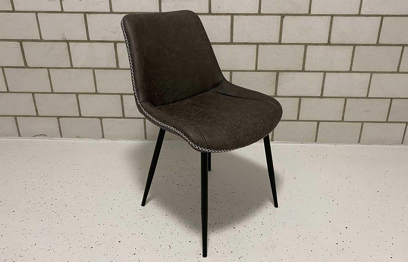 Stuhl Kunstleder Vintage anthrazit