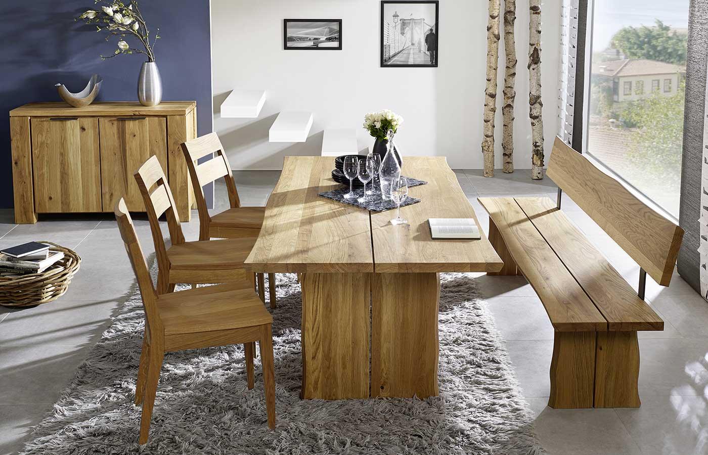 Tischgruppe Wildeiche massiv