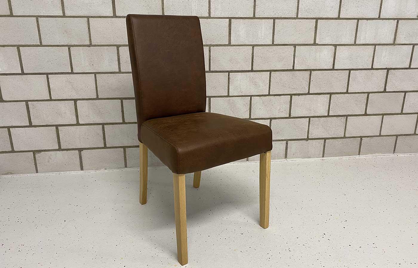 Stuhl Kunstleder Vintage braun